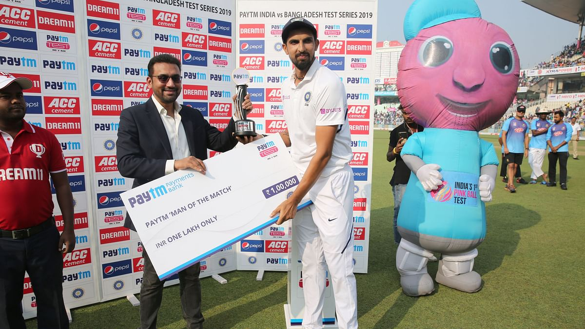 Ishant Sharma was awarded the Man-of the-match award for the Pink-Ball Test.