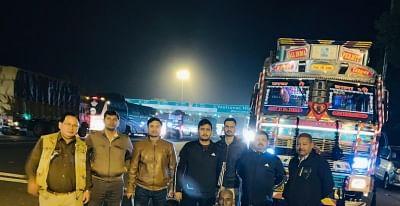 Customs officers intercept trucks loaded with betel nuts from Bangladesh near Ayodhya on Nov. 29, 2019. (Photo: IANS)