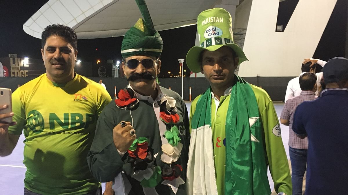 Mohammad Zaman AKA Chacha T20 (centre) with Shahbaz Pakistani (right) at the opening ceremony of the Abu Dhabi T10 League on Thursday.
