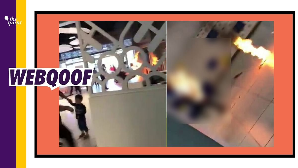 A 21-second video showing a man on fire is being circulated online with a claim that the accident occurred due to a power bank explosion at Kannur airport.