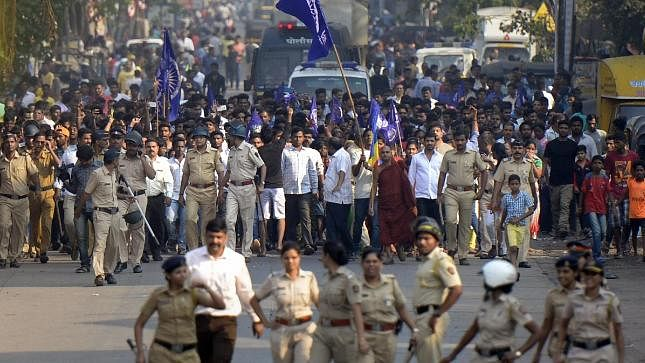 Cops accompany protesters in Mumbai on 2 January 2018 against the violence in Bhima Koregaon in Pune. Image used for representational purposes.