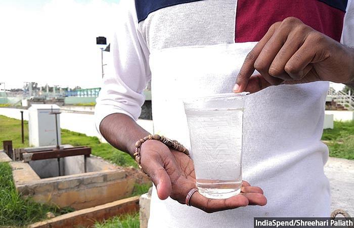 Domestic sewage water after secondary level treatment at Bellandur sewage treatment plant in Bengaluru.