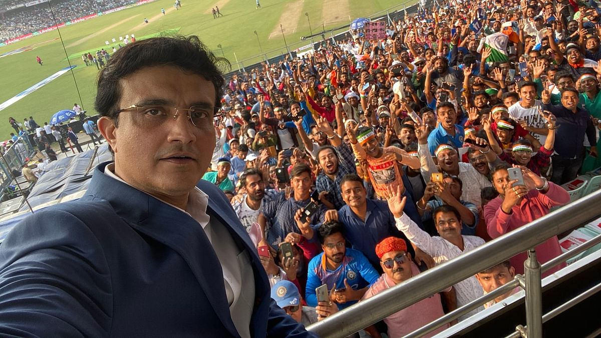BCCI President Sourav Ganguly shares a selfie with fans on his twitter handle.