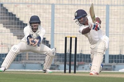 Kolkata: C. M. Gautam of Karnataka in action during the second semi-final match of Ranji Trophy between Karnataka and Vidarbha at Eden Gardens in Kolkata on Dec 18, 2017. (Photo: IANS)