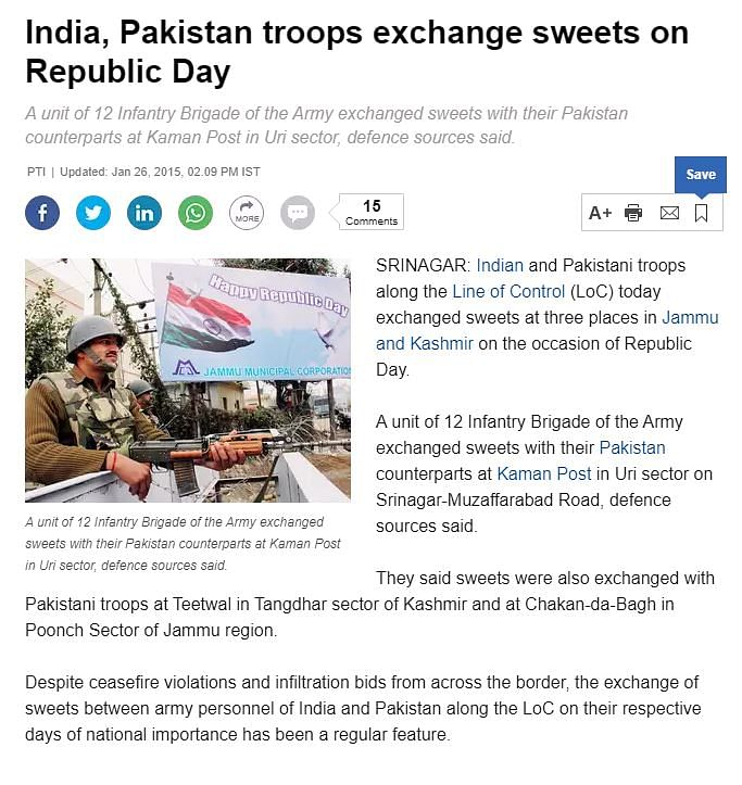 Viral Video of Indian, Pak Soldiers Exchanging Sweets is From 2015