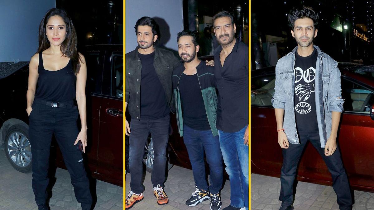 In Pics: Ajay Devgn, Kartik Aaryan at 'Ujda Chaman' Screening