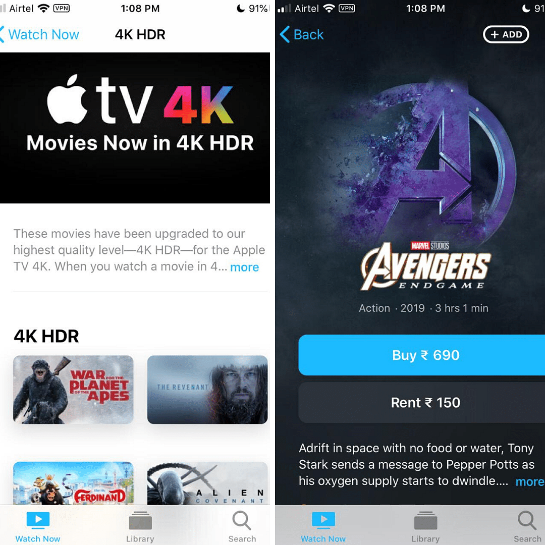 Apple TV+ currently has a limited number of titles.