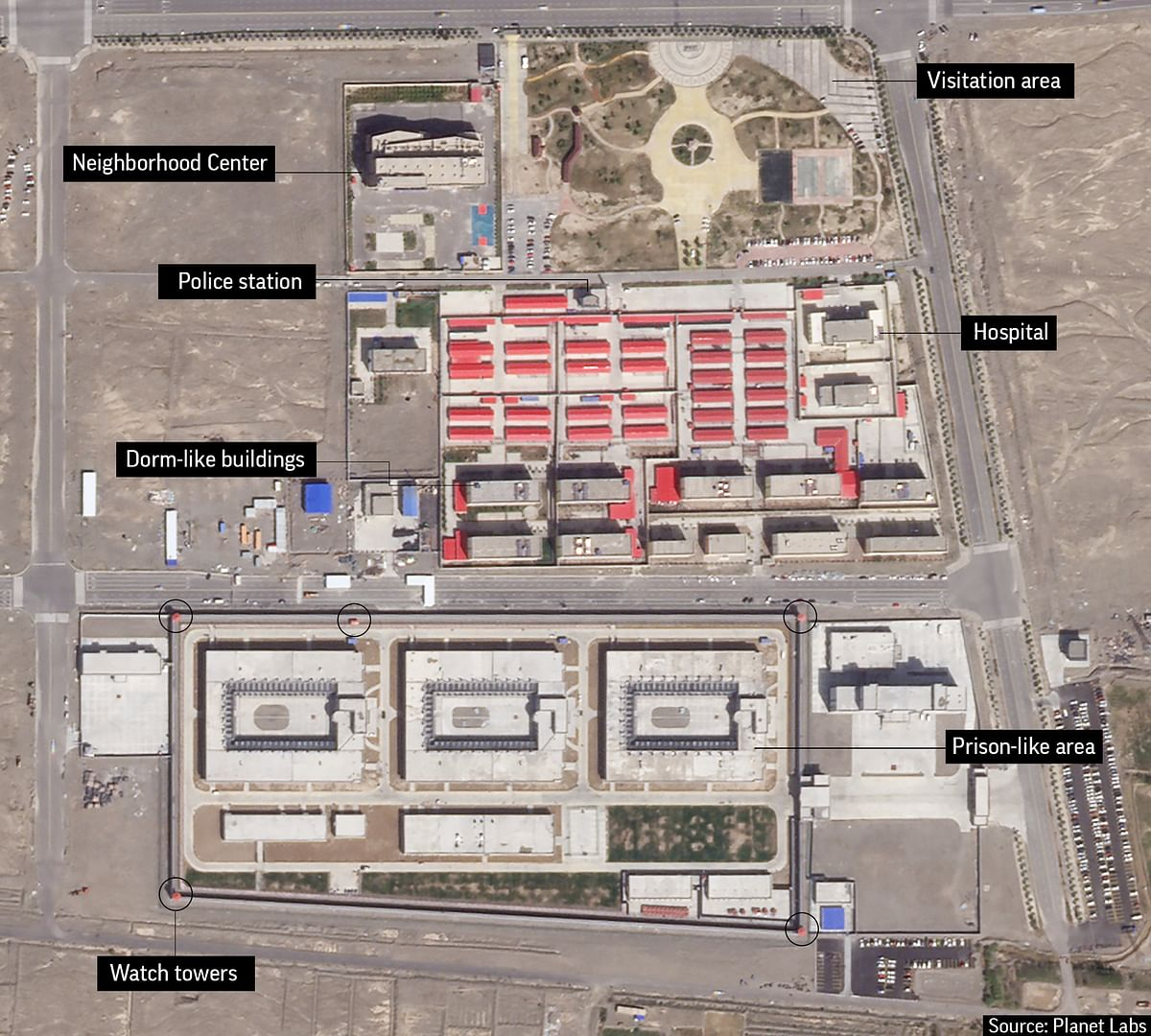 In this file satellite image provided by Planet Labs, buildings are seen around the Kunshan Industrial Park in Artux in western China's Xinjiang region.
