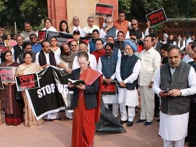 Constitution day: Congress holds protest at Ambedkar statue