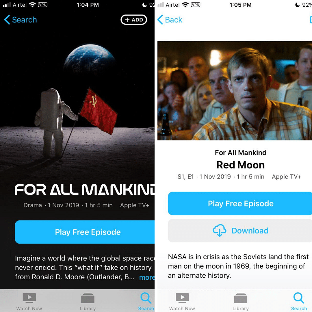 You can download Apple TV+ content on devices.