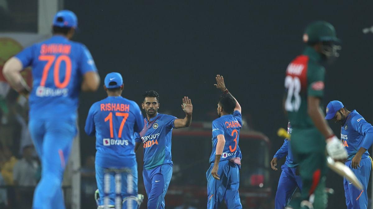 Deepak Chahar of India celebrates the wicket of Mohammad Mithun of Bangladesh during the 3rd T20 International match between India and Bangladesh held at the Vidarbha Cricket Association Stadium, Nagpur on the 10th November 2019.
