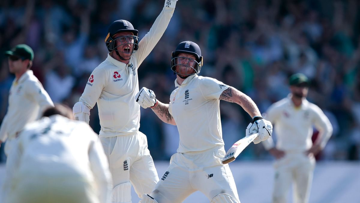 England's Ben Stokes, right, with Jack Leach celebrates after scoring the winning runs on the fourth day of the 3rd Ashes Test.