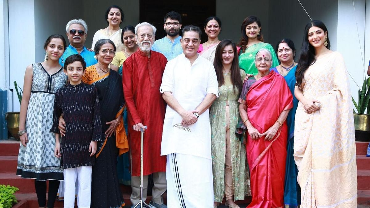Kamal Haasan kickstarted the birthday celebrations with a family get-together at their ancestral home at Paramakudi in Ramanathapuram district.