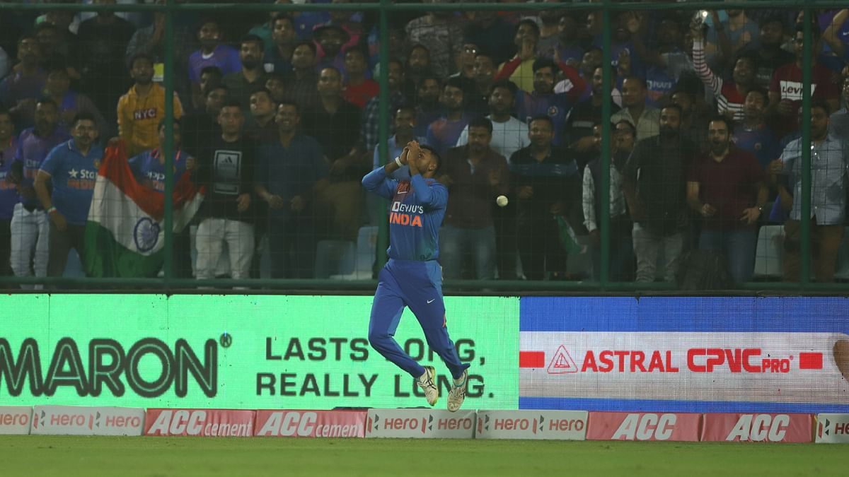 Krunal Pandya dropped Mushfiqur Rahim when he was on 38.
