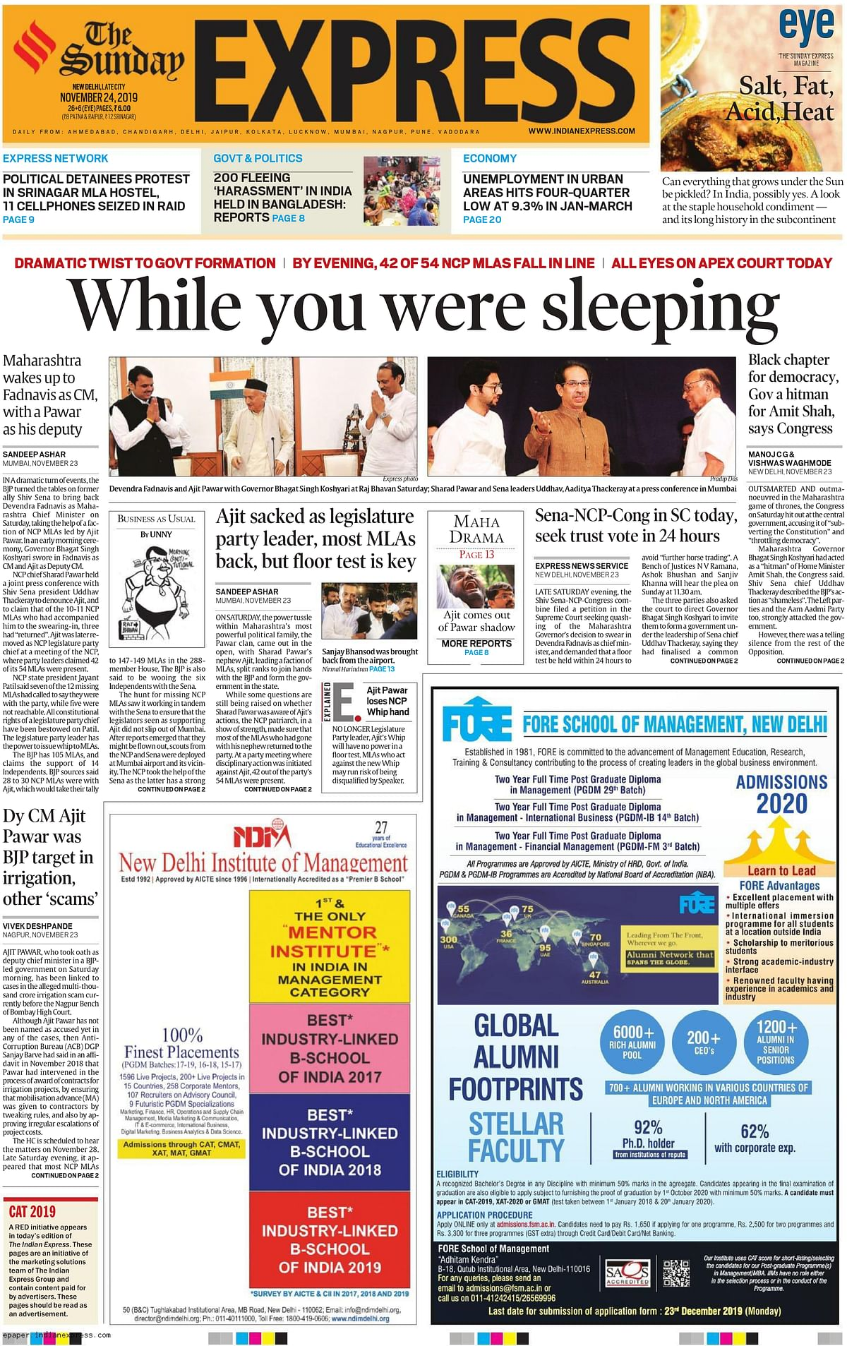 The headline of <i>The Indian Express</i> was 'While You Were Sleeping'