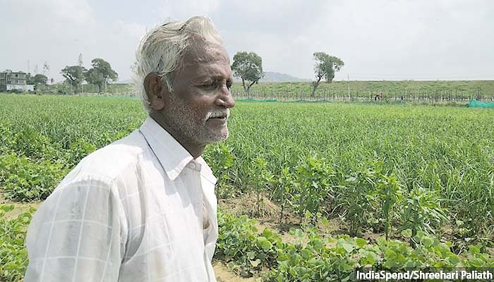 """Raja Rao, 71, a vegetable farmer in Narsapura village in Kolar, is not happy about the release of the """"dirty water"""". It has to be """"filtered"""" more before release into the Narsapura lake which they used for their domestic needs."""