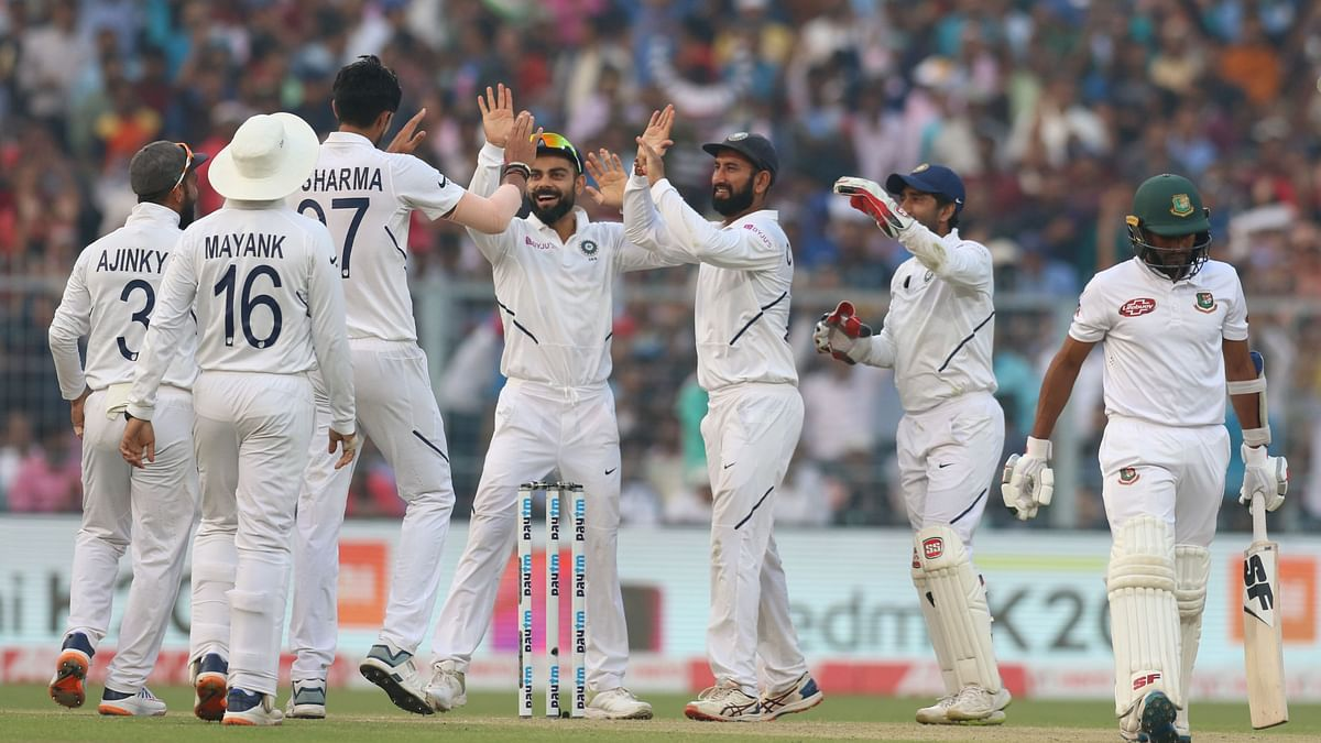 India reached 174/3 at stumps on Day 1 of the first pink ball Test in the country in Kolkata on Friday.