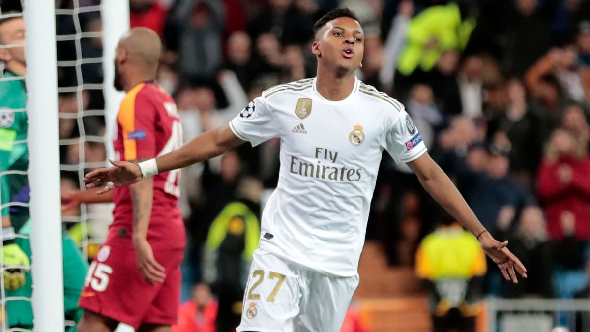 Rodrygo celebrates after scoring against Galatasaray in the Champion League.