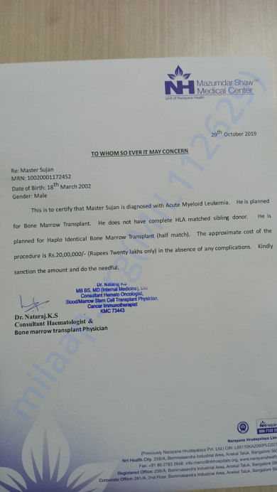 The letter mentions that Sujan requires a bone marrow transplant amounting to Rs 20 lakhs.