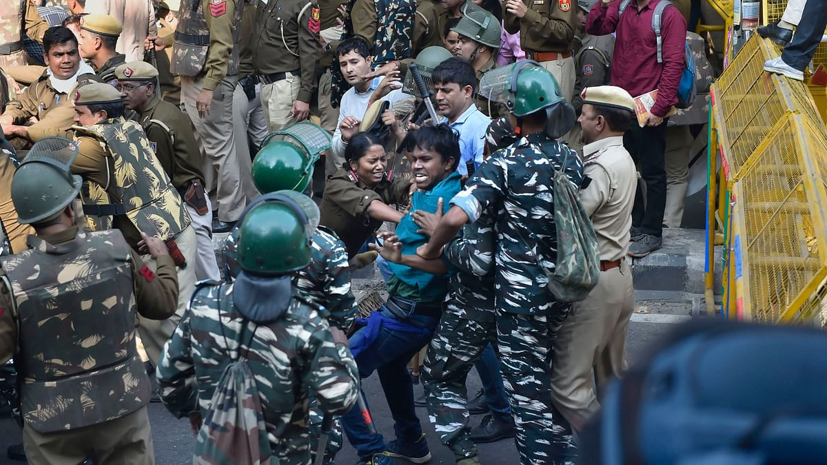 In Pics: Students Brave Cop Crackdown & CRPF to March for JNU