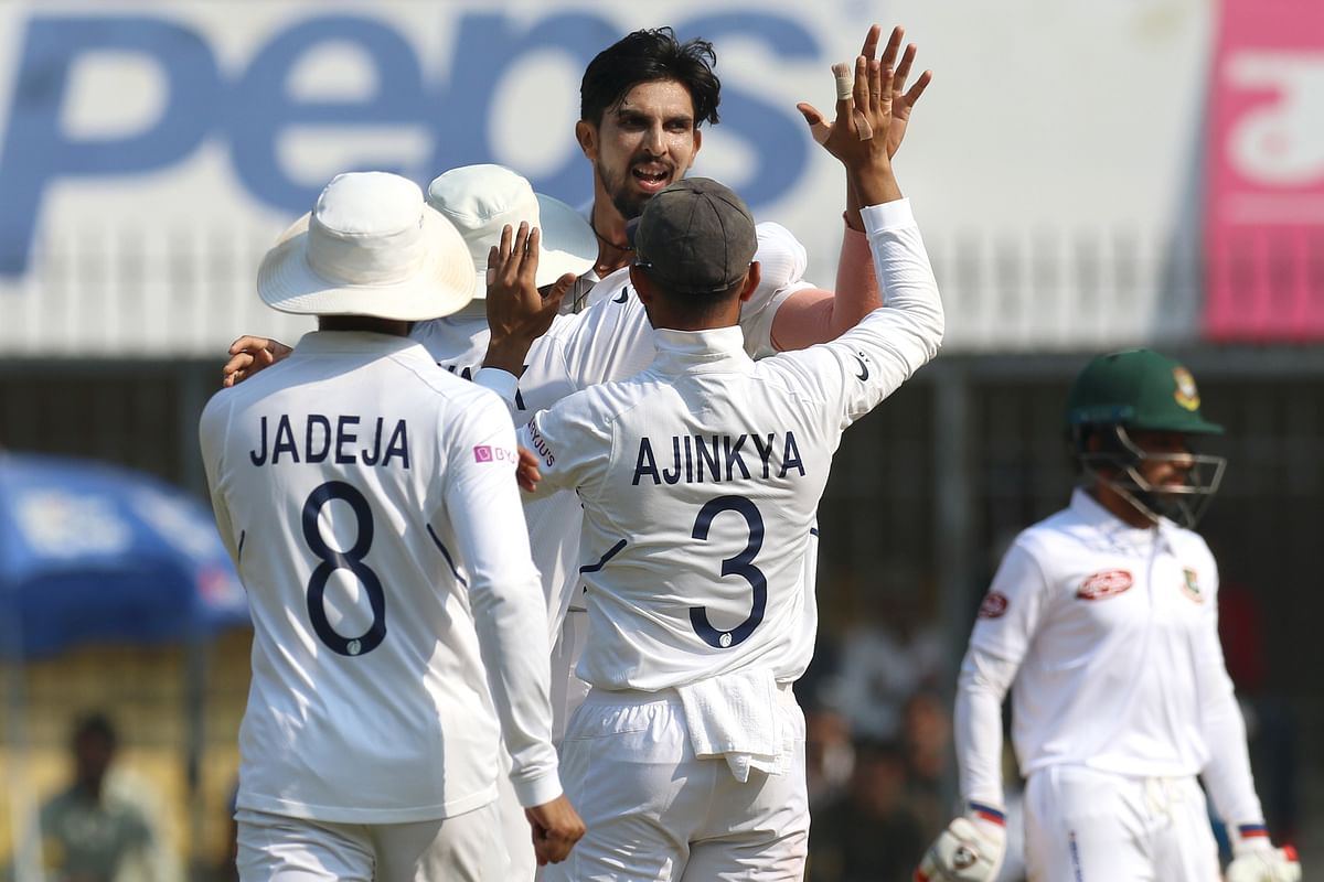 Ishant Sharma of India celebrates the wicket of Shadman Islam of Bangladesh during day three of the the 1st Test match between India and Bangladesh.