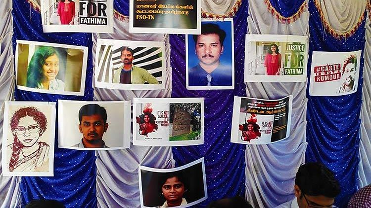 A purple curtain with numerous portraits bears testimony to just how rampant social discrimination and harassment is in campuses.