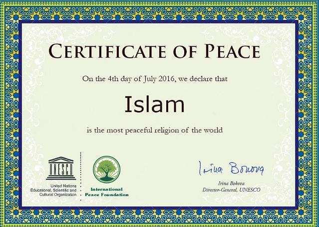 The certificate allegedly issued by UNESCO.