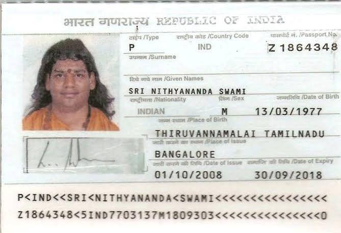 A copy of Nithyananda's passport.