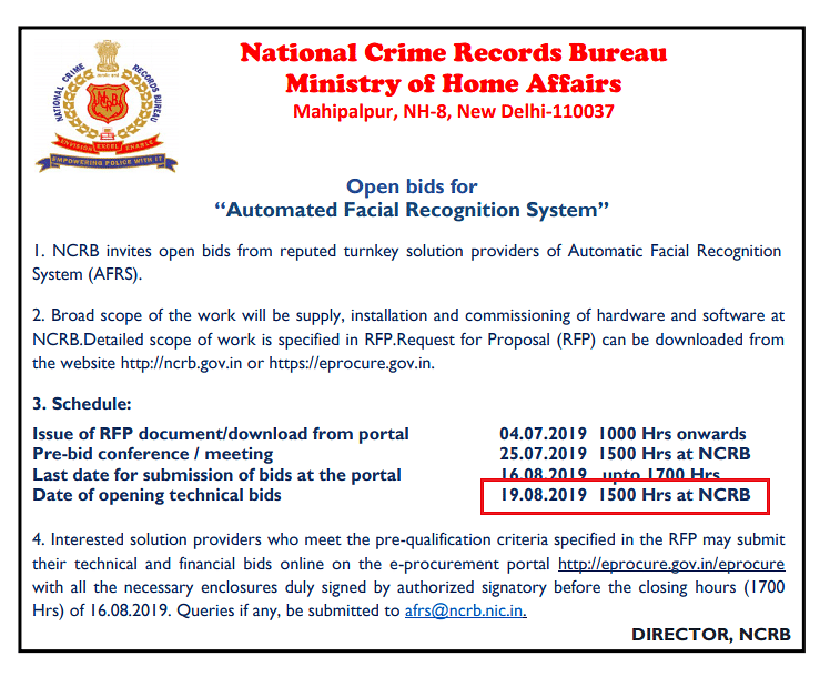 Advertisement published by the NCRB on 3 July announcing the opening of bids for a nationwide Aotomated Facial Recognition System.