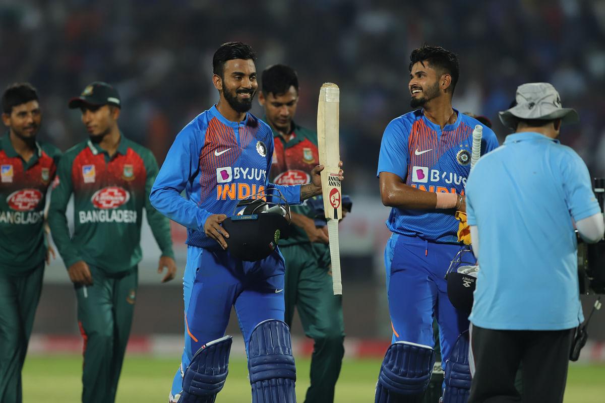India win during the 2nd T20I match between India and Bangladesh held at the Saurashtra Cricket Association Stadium, Rajkot on the 7th November 2019.