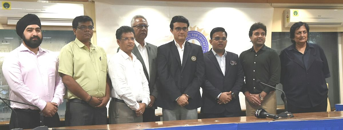 BCCI President Sourav Ganguly with his team members - Prabhtej Singh Bhatia (Councillor), Mahim Verma (Vice President), Jayesh George (Joint Secretary), Jay Shah (Secretary), Arun Singh Dhumal (Treasurer) and Anshuman Gaekwad and Shanta Rangaswamy (men's and women's ICA representatives).