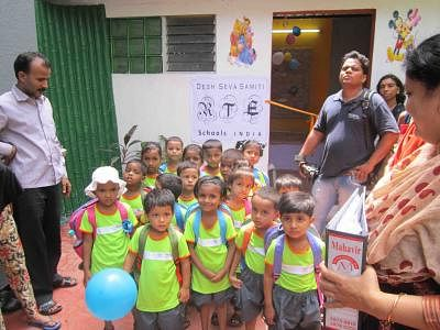 Desh Seva Sangh Director Avisha Kulkarni in the newly-inaugurated school exclusively for kids under RTE Act, whom admission denied by regular schools at her residence in Goregaon, North-West Mumbai on June 29, 2013. (Photo: IANS)