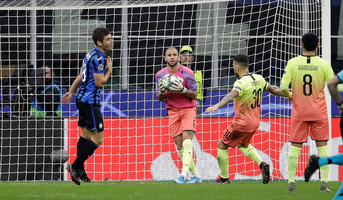 Manchester City's Kyle Walker  playing as goalkeeper during the Champions League group C game between Atalanta and Manchester City at the San Siro stadium in Milan, Italy.