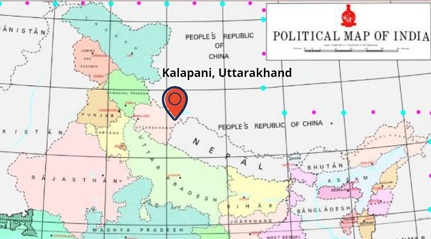 Kalapani as represented on the Map of India.