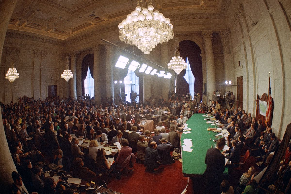 """FILE - In this May 18, 1973, file photo, the hearing of the Senate select committee on the Watergate case on Capitol Hill in Washington. In 1973, millions of Americans tuned in to what Variety called """"the hottest daytime soap opera"""" _ the Senate Watergate hearings that eventually led to President Richard Nixon's resignation."""