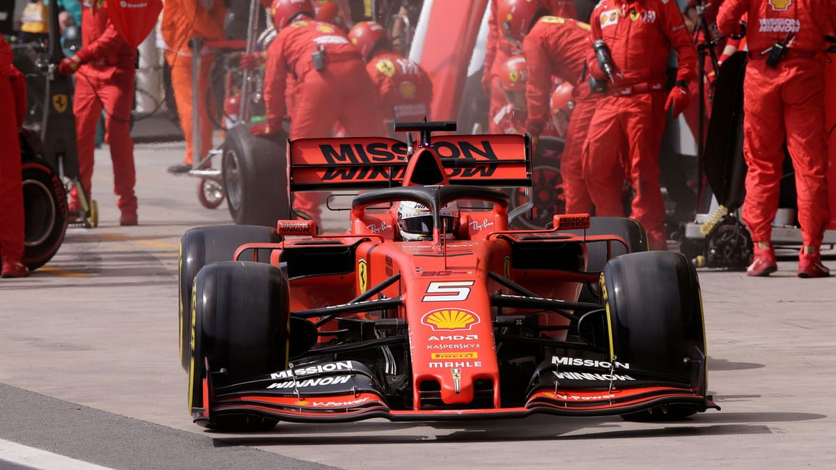 Ferrari driver Sebastian Vettel, of Germany, leaves the pits during the Brazilian Formula One Grand Prix at the Interlagos race track in Sao Paulo, Brazil.