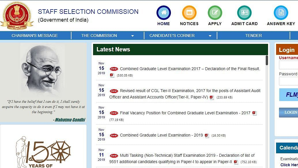 SSC CGL Registration 2019: Last Date To Register is 25 November