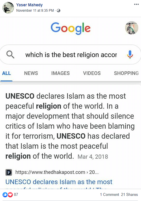Did UNESCO Call Islam Most Peaceful Religion? No, It's an Old Hoax