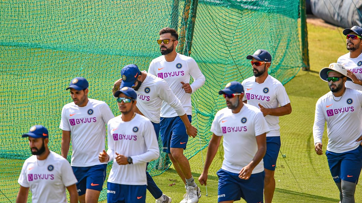 Team India during a nets sessions ahead of their first Test against Bangladesh at Indore.