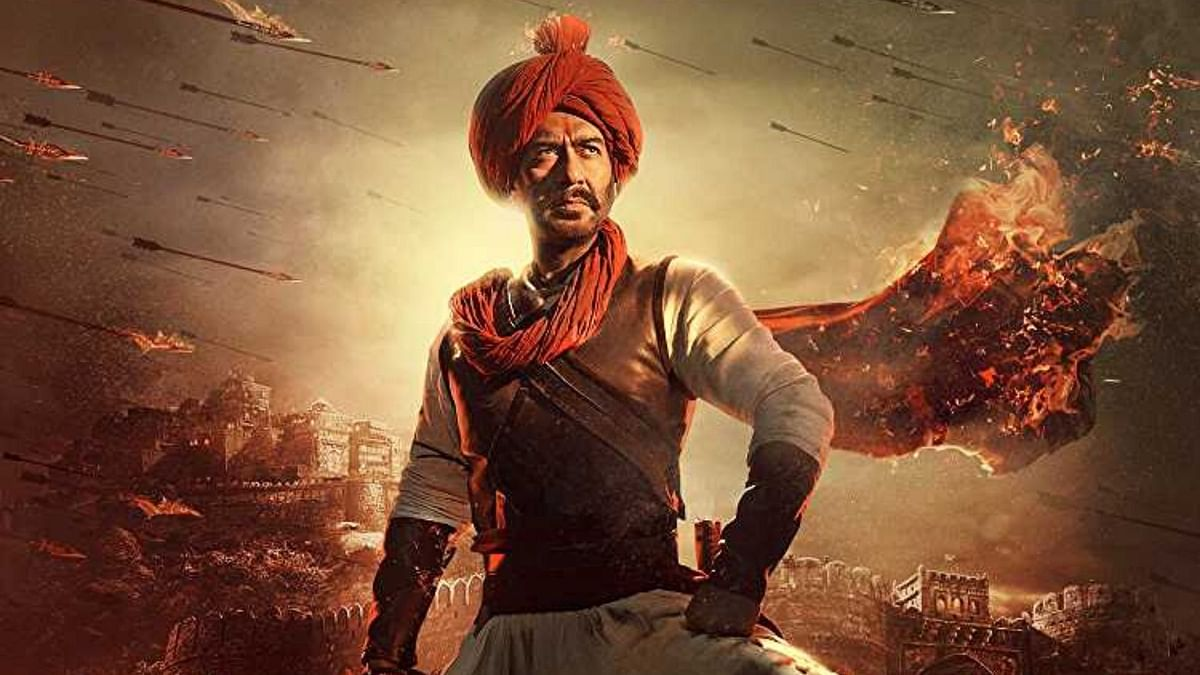Ajay Devgn in a poster for <i>Tanhaji - The Unsung Warrior.</i>