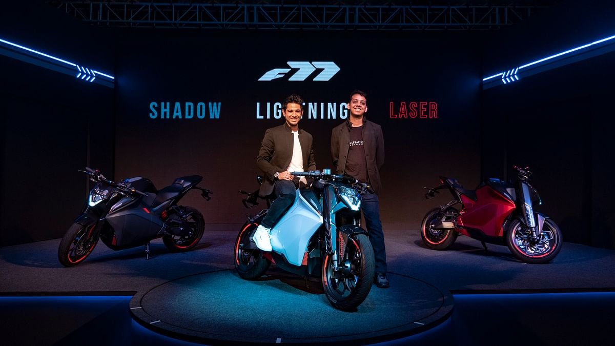 Ultraviolette founder Narayan Subramaniam (left) and Niraj Rajmohan with the F77 bike.