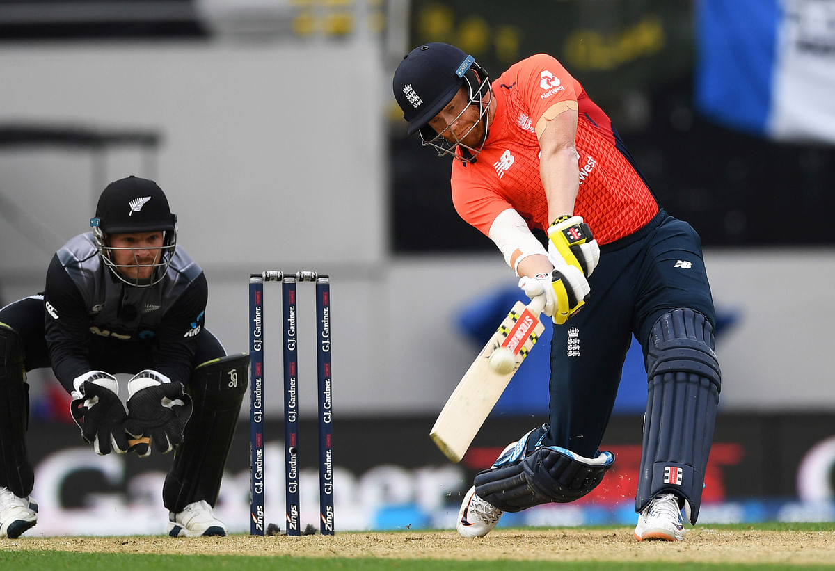 England's Jonny Bairstow bats during their T20 cricket match against New Zealand at Eden Park, Auckland, New Zealand, Sunday, Nov. 10, 2019.