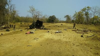 Sukma: The site where Maoists blew up an anti-landmine vehicle of the 212 CRPF Battalion in Sukma district of Chhattisgarh on March 13, 2018. At least nine CRPF personnel were killed and two injured in the incident. (Photo: IANS)