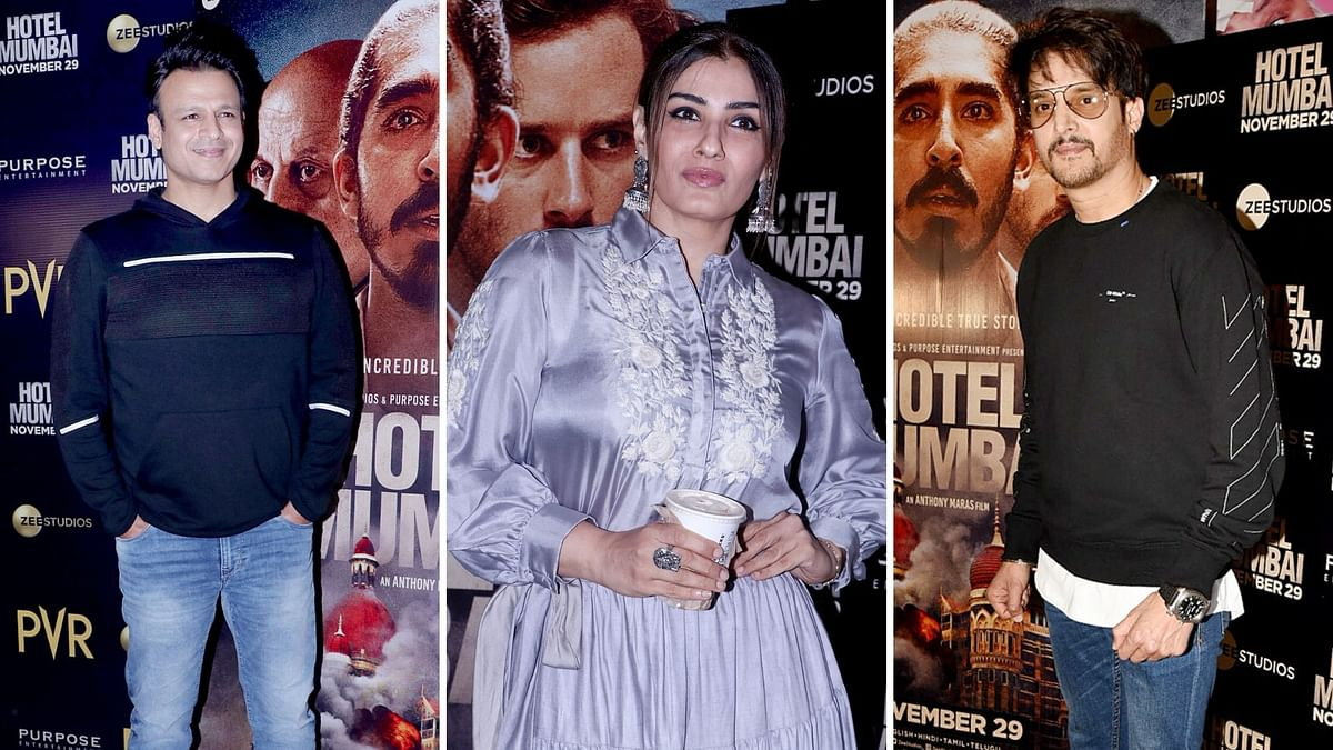 Pics: Vivek Oberoi, Raveena Tandon at 'Hotel Mumbai' Screening