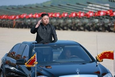 Seoul: North Korean leader Kim Jong-un reviews the military units participating in the country