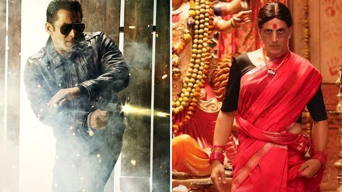 Salman Khan in <i>Radhe</i> (L), Akshay Kumar in <i>Laxxmi Bomb</i> (R).