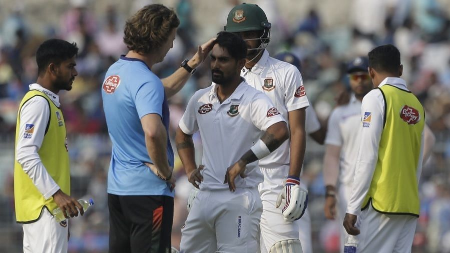Liton Das was hit by a bouncer from India pacer Mohammed Shami on the opening day of the Day-Night Test.