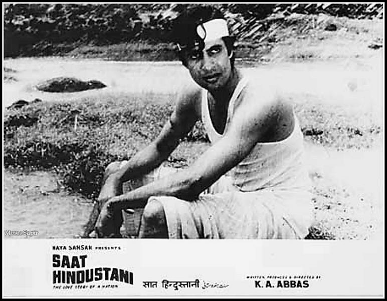 Amitabh Bachchan on the lobby card of <i>Saat Hindustani.&nbsp;</i>