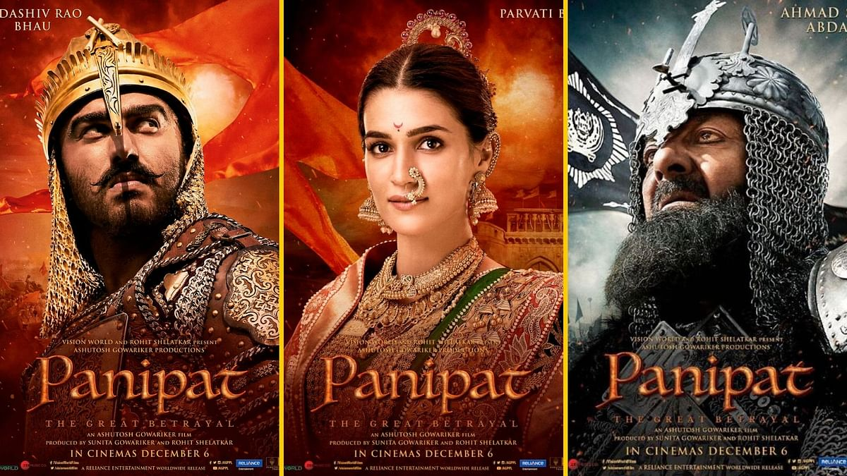 Arjun Kapoor, Kriti Sanon and Sanjay Dutt in posters for <i>Panipat</i>.