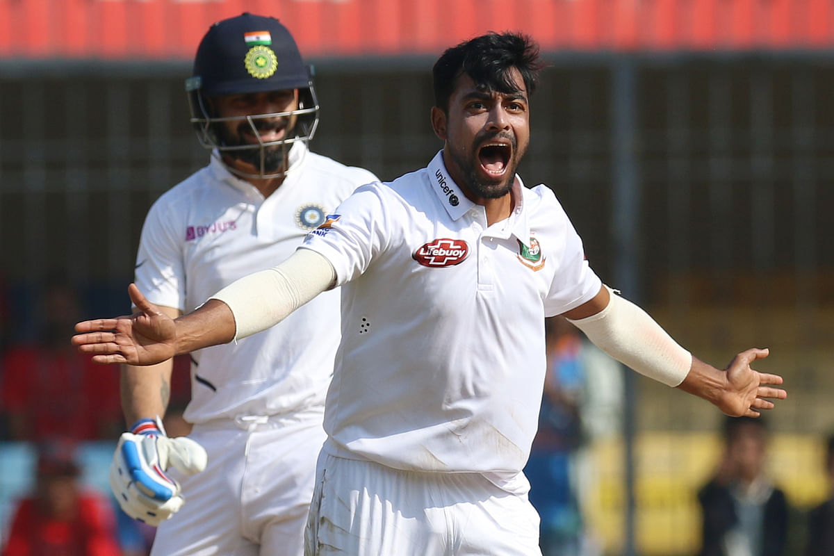 Virat Kohli fell for a duck on Day 2 of the first Test between India and Bangladesh at Indore.